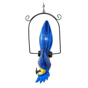南国のカラフルバード 吊り下げ 青とさか[31cm] アジアン雑貨 バリ雑貨 おしゃれな 小鳥の アジアン インテリア|angkasa