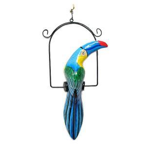南国のカラフルバード 吊り下げ 青くちばし[32cm] アジアン雑貨 バリ雑貨 おしゃれな 小鳥の アジアン インテリア|angkasa