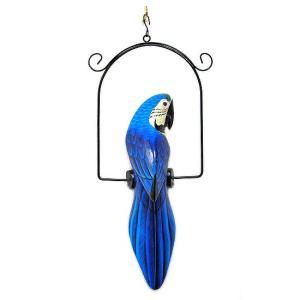 南国のカラフルバード 吊り下げ 青[30cm] アジアン雑貨 バリ雑貨 おしゃれな 小鳥の アジアン インテリア|angkasa