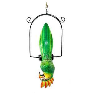 南国のカラフルバード 吊り下げ 緑・黄色とさか[31cm] アジアン雑貨 バリ雑貨 おしゃれな 小鳥の アジアン インテリア angkasa