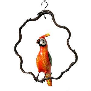 南国のカラフルバード吊り下げ 木の枠 オレンジ グリーン[30cm] アジアン雑貨 バリ雑貨 おしゃれな 小鳥の アジアン インテリア|angkasa