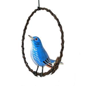 南国のカラフルバード 吊り下げ 木の枠 ブルー[15cm]  アジアン雑貨 バリ雑貨 おしゃれな 小鳥の アジアン インテリア|angkasa