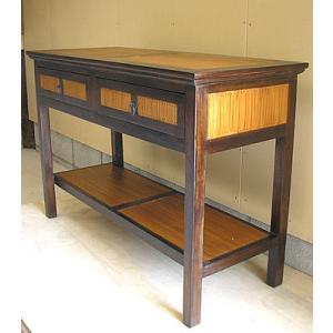 アジアン家具 アジアン雑貨 バリ家具 バンブーとチークのコンソール サイドテーブル 引き出し2つ|angkasa