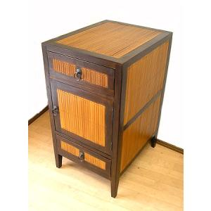 アジアン家具 アジアン雑貨 15%OFF バンブーとチークのチェスト サイドテーブル 3段 H.75cm|angkasa