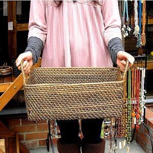 ラタンの持ち手付きバスケット長方形 Sサイズ [39x23x15cm] アジアン雑貨 バリ雑貨 おしゃれなランドリーバスケット angkasa