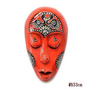 木彫りのお面 ロンボク 壁掛け マスク 33cm 朱 手描き シェル加工  アジアン雑貨 バリ雑貨 |angkasa