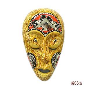 木彫りのお面 ロンボク 壁掛け マスク 33cm 黄・まだら 手描き シェル加工  アジアン雑貨 バリ雑貨 |angkasa