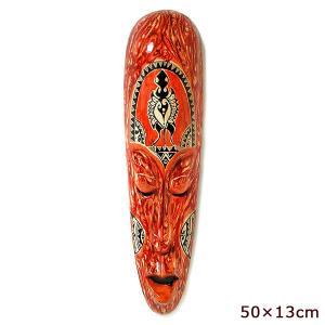 木彫りのお面 ロンボク 壁掛けマスク 50x13cm レッド・まだら 手描き おしゃれな 壁掛け エスニック インテリア アジアン 雑貨 バリ 雑貨 タイ 雑貨|angkasa