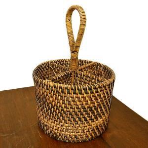 ラタンとアタの収納 持ち手付き リモコンケース カトラリー  円筒型[H.13cm] アジアン雑貨 バリ雑貨|angkasa