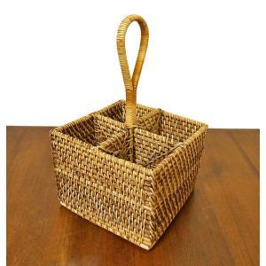 ラタンとアタの収納 持ち手付き リモコンケース カトラリー A 四角型[H.14cm] アジアン雑貨 バリ雑貨|angkasa