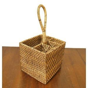 ラタンとアタの収納 持ち手付き リモコンケース カトラリー B 四角型[H.16cm] アジアン雑貨 バリ雑貨|angkasa