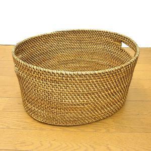 ラタンの持ち手付きバスケット 楕円 Mサイズ [W.41cm] アジアン雑貨 バリ雑貨 angkasa