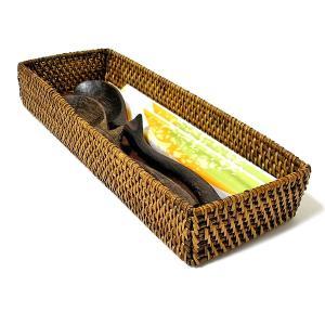 カトラリー ケース ボックス キッチン 収納 小物入れ アメニティー 箸入れ トレイ ブラウン ラタン ロンボク アタ 木製|angkasa