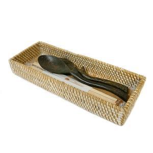 カトラリー ケース ボックス キッチン 収納 小物入れ アメニティー 箸入れ トレイ ホワイト ラタン ロンボク アタ 木製|angkasa