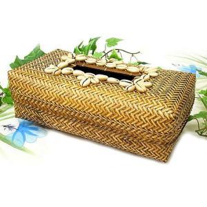 ラタンのティッシュケース ナチュラル シェルの飾り アジアン雑貨 バリ雑貨 エスニック おしゃれなティッシュケース angkasa