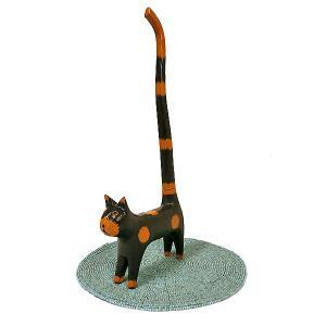 シッポネコのトイレットペーパーホルダー ストッカー クロ 黒猫 アジアン雑貨 バリ雑貨 エスニック かわいい 置物 グッズ|angkasa