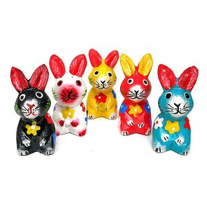 カラフルウサギ 5個セット[H.5cm] アジアン雑貨 バリ雑貨 タイ雑貨 エスニック おしゃれな かわいい置物 卓上|angkasa
