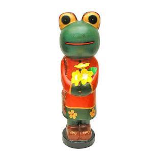 花束を持ったカエルさん L [H.60cm] アジアン雑貨 バリ雑貨 エスニック かわいい 置物 カエルグッズ|angkasa