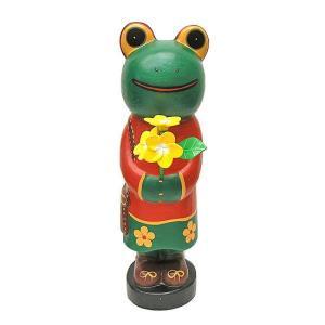 花束を持ったカエルさん L [H.50cm] 木製 アジアン雑貨 バリ雑貨 エスニック かわいい 置物 カエルグッズ|angkasa