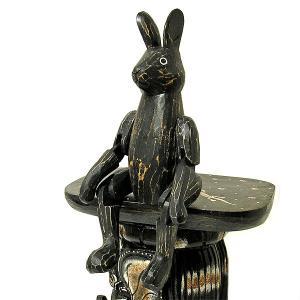 アンティーク調 手足が動かせる木彫りのうさぎ 黒 インテリア人形 アジアン雑貨 バリ タイ エスニック アニマル 置物 |angkasa