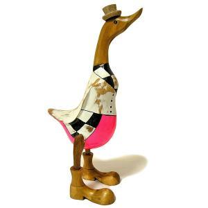 木彫りのアヒル 白 帽子 アンティーク仕上げ [H.約36cm] ナチュラル エスニック おしゃれな 置物 玄関 階段 インテリア人形 アジアン雑貨|angkasa