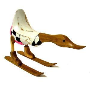 木彫りのアヒル スキー 白 アンティーク仕上げ [全長約34cm] ナチュラル エスニック おしゃれな 置物 玄関 階段 インテリア人形 アジアン雑貨|angkasa