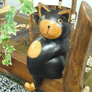 お座りバリネコ 黒 Lサイズ H.17cm アジアン雑貨 バリ雑貨 タイ雑貨 エスニック おしゃれな 置物 卓上|angkasa