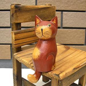 お座りバリネコ<茶>【S】[7cm]ミニ アジアン雑貨 バリ雑貨 タイ雑貨 エスニック おしゃれな 置物 卓上|angkasa
