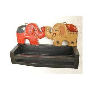 アジアン雑貨 バリ雑貨 壁掛け卓上 木彫りの象さん 小物入れ 調味料ラック 2頭 W.25cm|angkasa