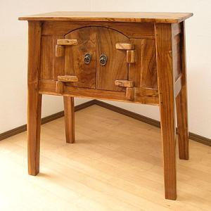 アジアン家具 アジアン雑貨 古木チークのキャビネット サイドテーブル 四つ脚 天板60x30cm |angkasa