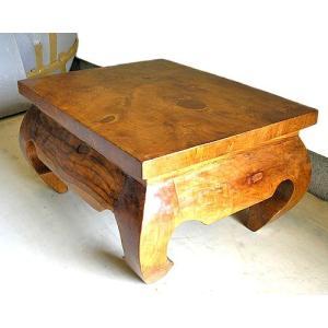 アジアン家具 アジアン雑貨 古木 チークのローテーブル オピウム 長方形板 60x50cm|angkasa