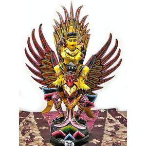 霊鳥ガルーダとWISNU神 [H.45cm] 黒赤白鱗 アジアン雑貨 バリ雑貨 木製 フィギュア インテリア雑貨 置物|angkasa
