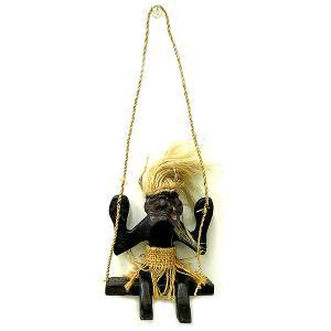木彫りの原人 ブランコ吊り下げ アジアン雑貨 バリ タイ エスニック 手作り |angkasa