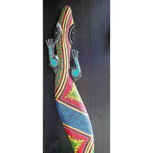 アジアン雑貨 バリ雑貨 壁掛けトカゲ ドットペイント 特大 150cm|angkasa