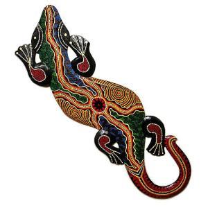 壁掛けトカゲ [約120cm] 太目 カラフル ドットペイント H アジアン雑貨 バリ雑貨 |angkasa