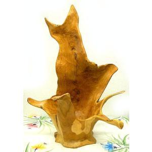 アジアン雑貨 バリ雑貨 自然木チークの花びん I フルーツボウル 特大 [H.約72cm]|angkasa