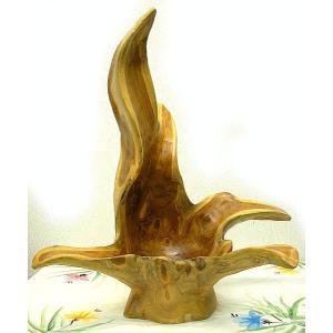 アジアン雑貨 バリ雑貨 自然木チークの花びん J フルーツボウル 特大 [H.63cm]|angkasa