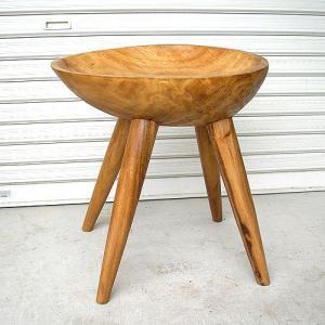 アジアン家具 アジアン雑貨 天然木 チークの椅子 イス スツール 丸型 [H.約50cm]|angkasa