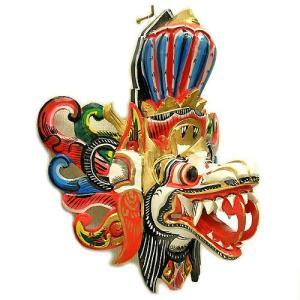 壁掛け 木彫 『アナンタ竜王』 ホワイト [横約30cmx縦35cm]   アジアン雑貨 バリ雑貨 木製 フィギュア インテリア雑貨 置物|angkasa