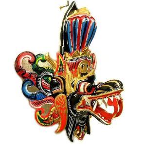 壁掛け 木彫 『アナンタ竜王』 ブラック [横約30cmx縦35cm]   アジアン雑貨 バリ雑貨 木製 フィギュア インテリア雑貨 置物|angkasa