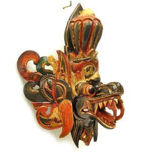 壁掛け 木彫 『アナンタ竜王』 ブラウン [横約30cmx縦35cm]   アジアン雑貨 バリ雑貨 木製 フィギュア インテリア雑貨 置物|angkasa