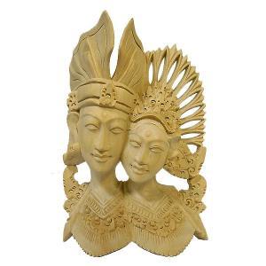 【壁掛け卓上】木彫りのレリーフ『ラーマとシータ』[H.20cm] ナチュラル  アジアン雑貨 バリ雑貨 |angkasa