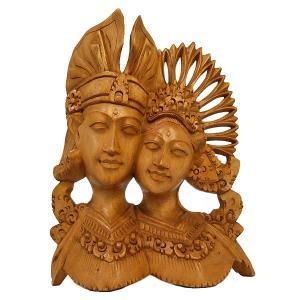 【壁掛け卓上】木彫りのレリーフ『ラーマとシータ』[H.20cm] ブラウン  アジアン雑貨 バリ雑貨 |angkasa