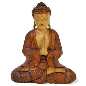 木彫りの仏陀 坐像 H ナチュラル [H.31cm] アジアン雑貨 バリ雑貨 おしゃれな 癒しの置物 仏像コレクション |angkasa