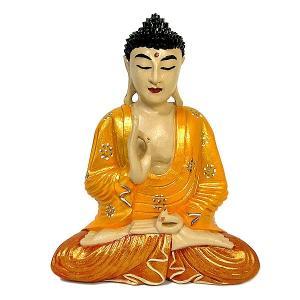 木彫りの仏陀 坐像 A [H.32cm] アジアン雑貨 バリ雑貨 おしゃれな 癒しの置物 仏像コレクション |angkasa