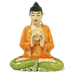 木彫りの仏陀 坐像 B [H.32.5cm] アジアン雑貨 バリ雑貨 おしゃれな 癒しの置物 仏像コレクション|angkasa