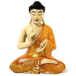 木彫りの仏陀 坐像 C [H.31cm] アジアン雑貨 バリ雑貨 おしゃれな 癒しの置物 仏像コレクション|angkasa