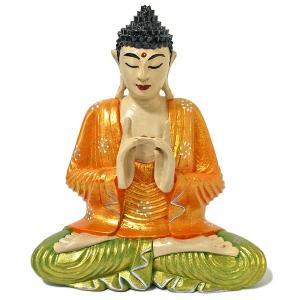 木彫りの仏陀 坐像 D [H.31cm] アジアン雑貨 バリ雑貨 おしゃれな 癒しの置物 仏像コレクション|angkasa