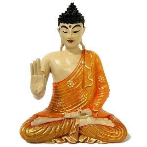 木彫りの仏陀 坐像 E [H.35cm] アジアン雑貨 バリ雑貨 おしゃれな 癒しの置物 仏像コレクション|angkasa
