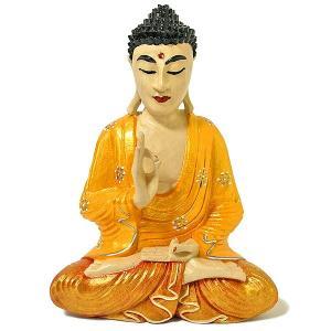 木彫りの仏陀 坐像 G [H.32cm] アジアン雑貨 バリ雑貨 おしゃれな 癒しの置物 仏像コレクション|angkasa